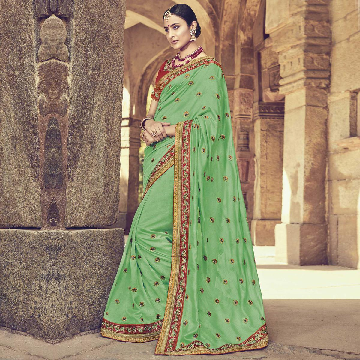 Adorable Green Colored Embroidered Partywear Cotton Silk Saree