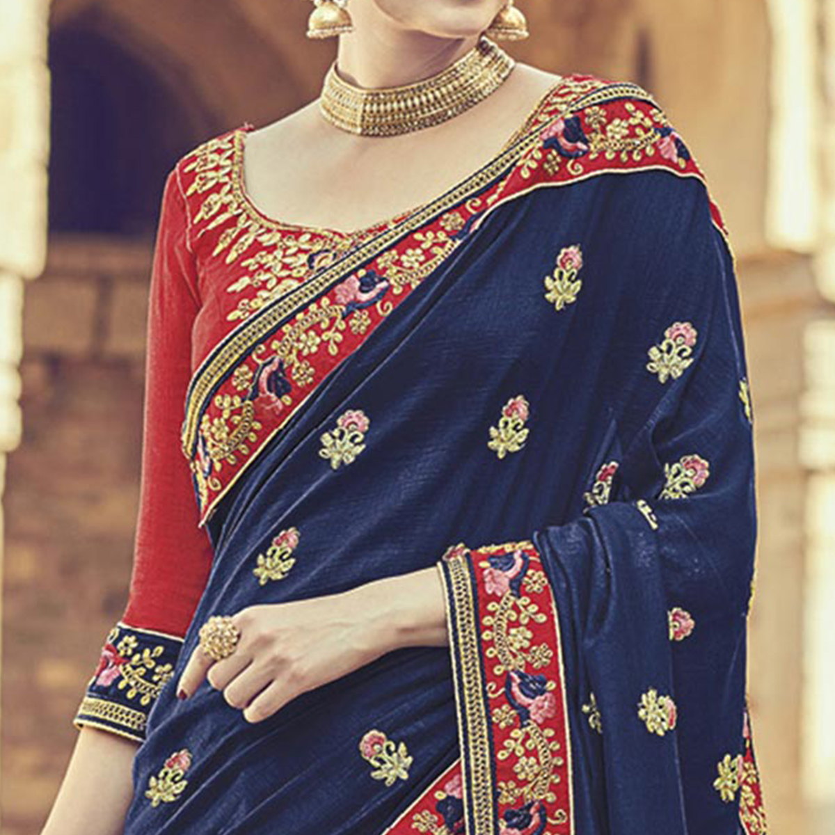 Innovative Navy Blue Colored Embroidered Partywear Cotton Silk Saree
