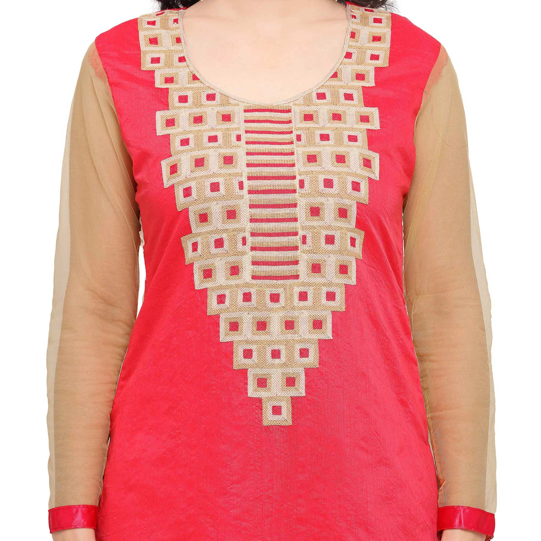 Pink Chanderi Cotton Embroidered Suit