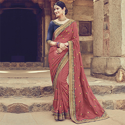 Marvelous Peach Colored Embroidered Partywear Cotton Silk Saree