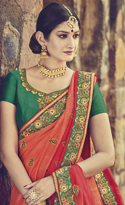 Energetic Orange Colored Embroidered Partywear Cotton Silk Saree
