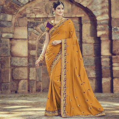 Entrancing Yellow Colored Embroidered Partywear Cotton Silk Saree