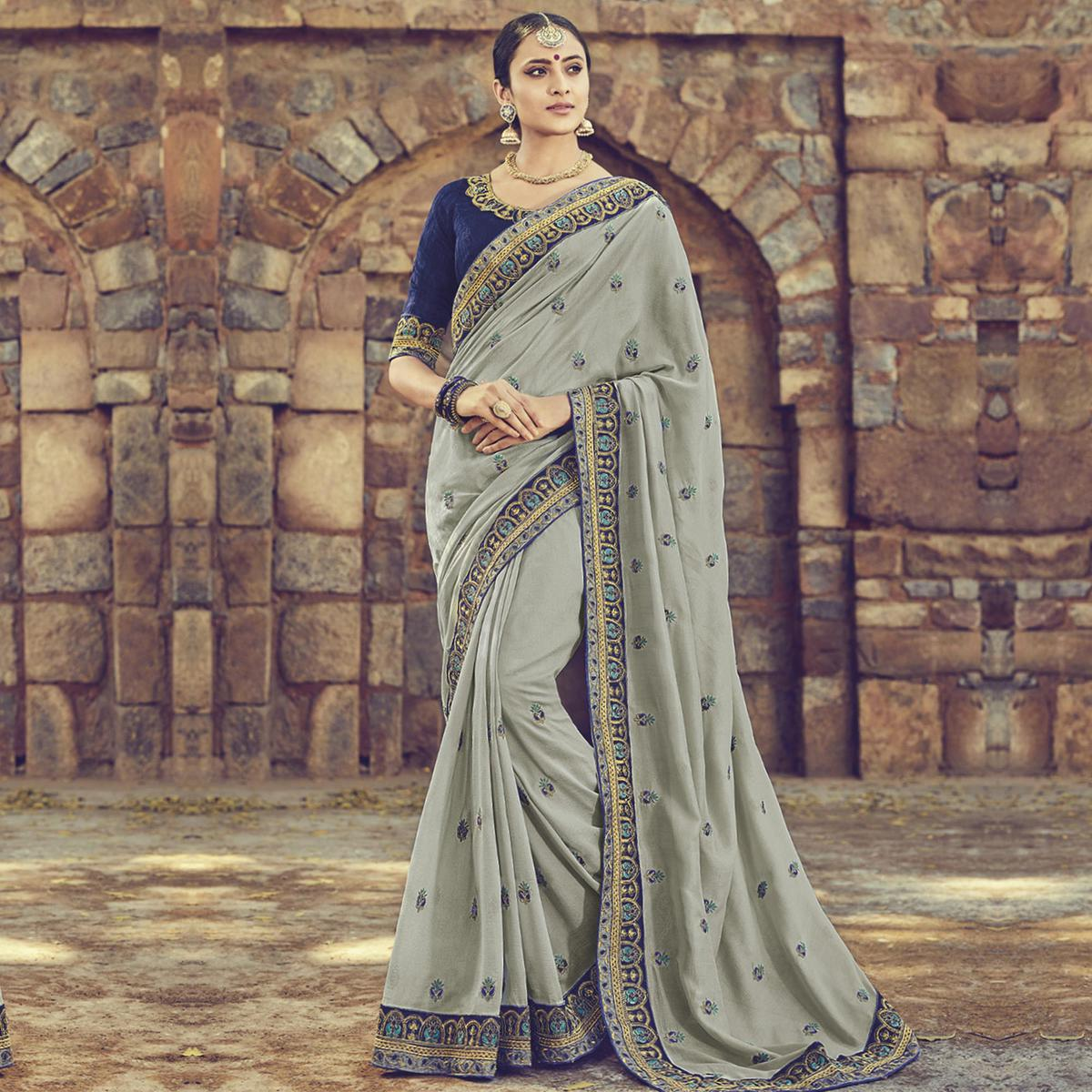 Sophisticated Gray Colored Embroidered Partywear Cotton Silk Saree