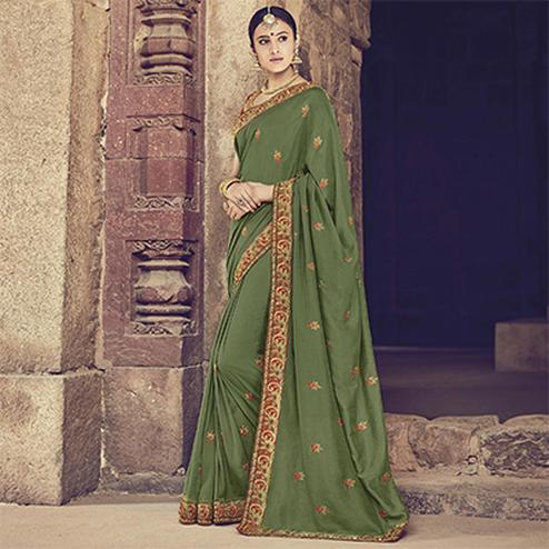 Arresting Green Colored Embroidered Partywear Cotton Silk Saree