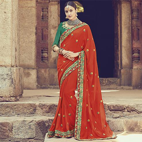 Breathtaking Orange Colored Embroidered Partywear Cotton Silk Saree