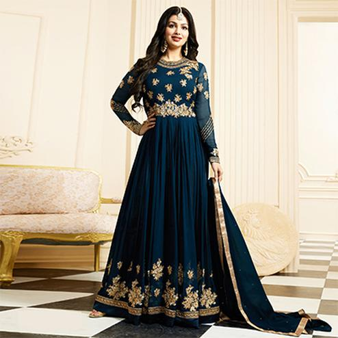 Impressive Midnight Blue Colored Designer Partywear Embroidered Georgette Anarkali