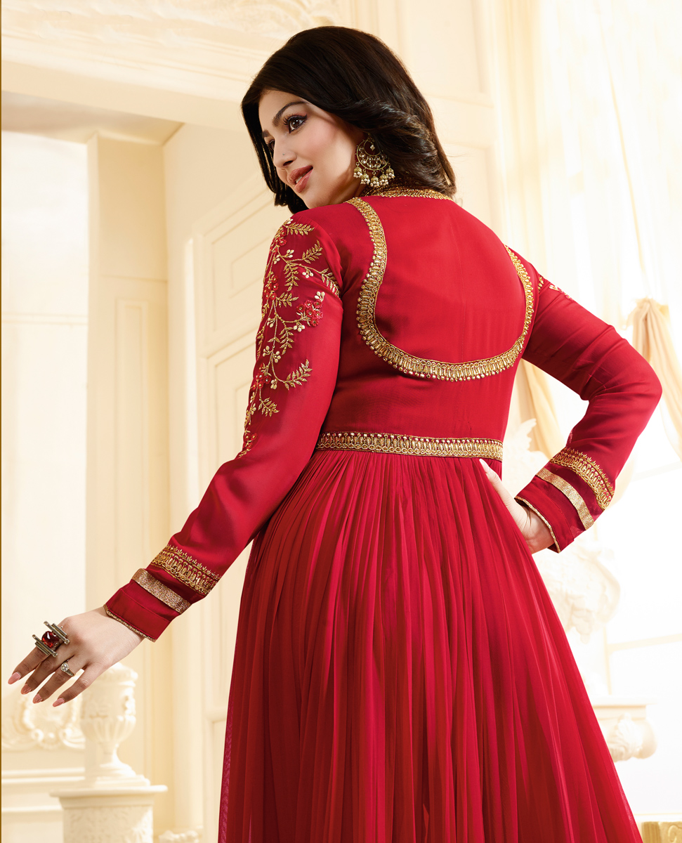 Attractive Red Colored Designer Partywear Embroidered Georgette Anarkali