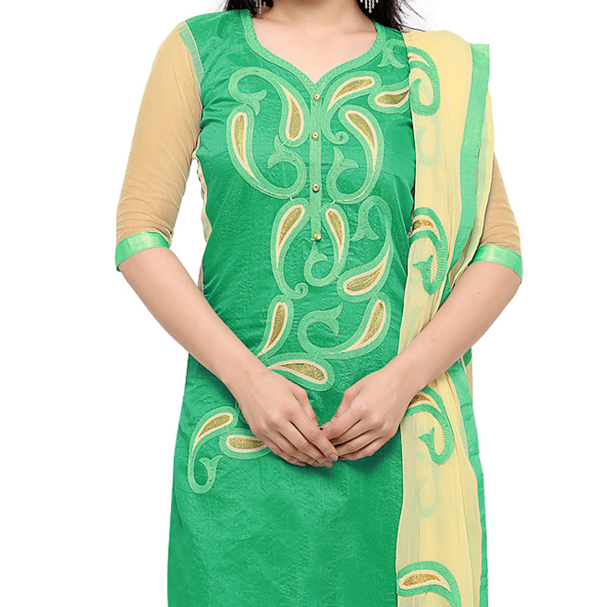 Green Chanderi Cotton Embroidered Suit