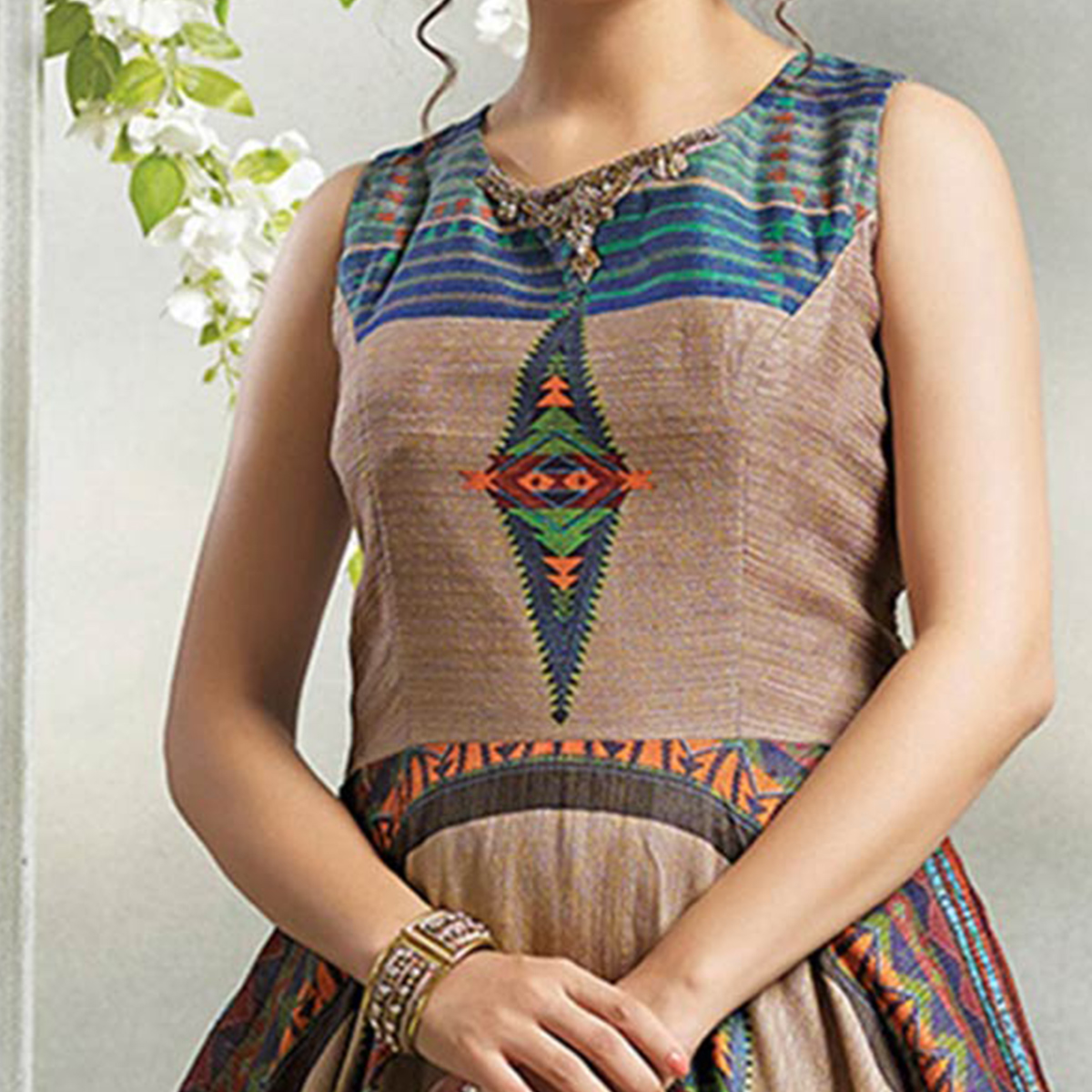 Attractive Multi Colored Partywear Digital Printed Chanderi Silk Long Kurti