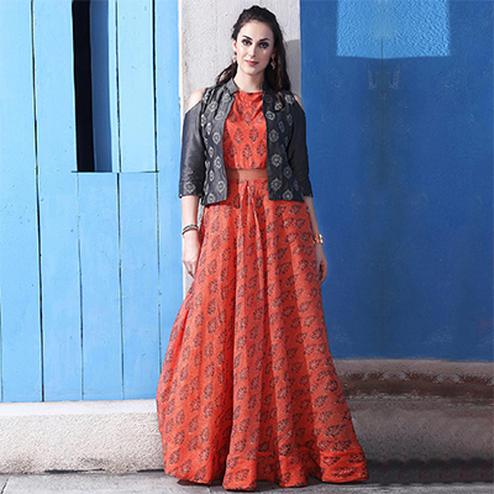 Glowing Orange Colored Partywear Digital Printed Chanderi Silk Long Kurti