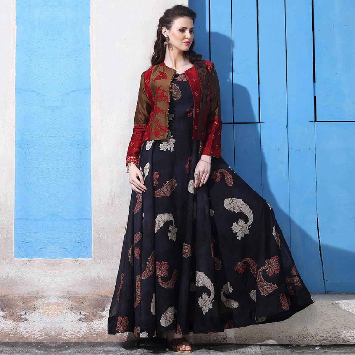 Dazzling Navy Blue Colored Partywear Digital Printed Chanderi Silk Long Kurti