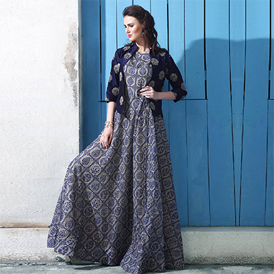 Eye-Catching Blue-Gray Colored Partywear Digital Printed Chanderi Silk Long Kurti