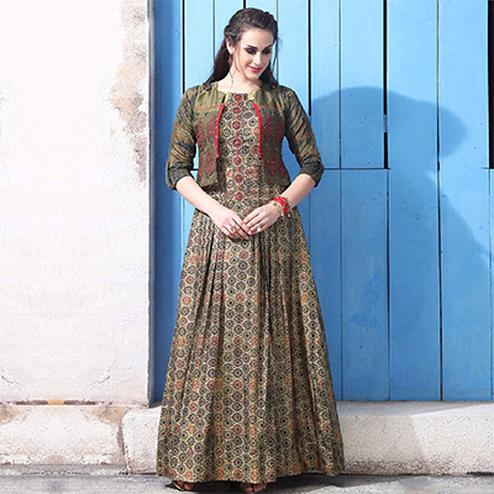 Bold Beige Colored Partywear Digital Printed Chanderi Silk Long Kurti