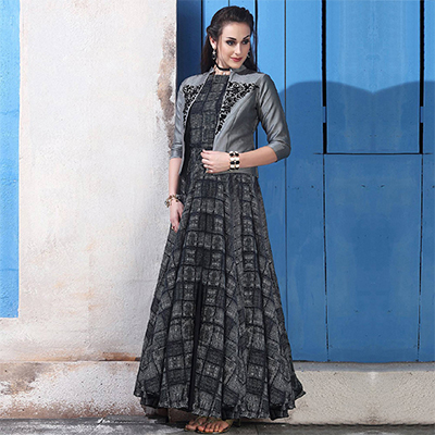 Perfect Gray Colored Partywear Digital Printed Chanderi Silk Long Kurti