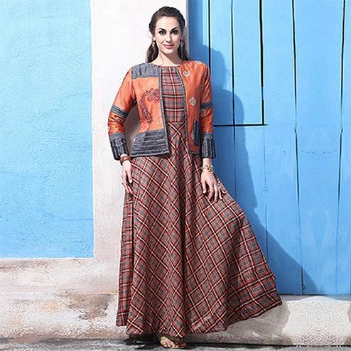 Demanding Orange Colored Partywear Digital Printed Chanderi Silk Long Kurti
