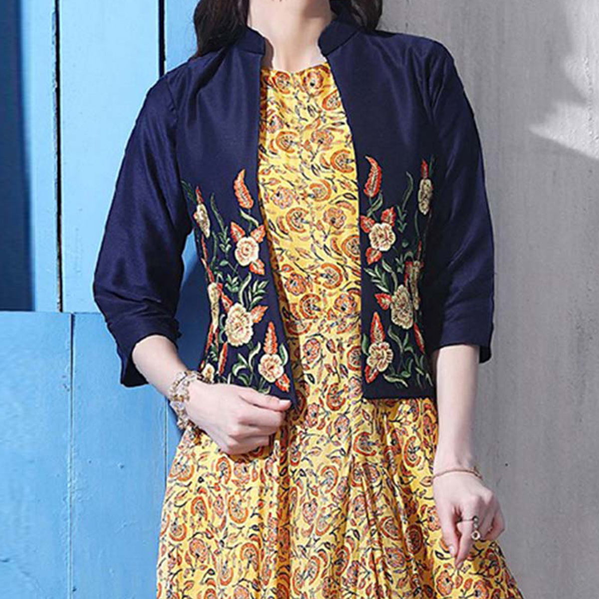 Gorgeous Yellow Colored Partywear Digital Printed Chanderi Silk Long Kurti