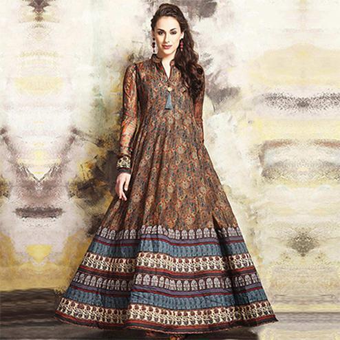 Refreshing Multi Colored Partywear Digital Printed Chanderi Silk Long Kurti