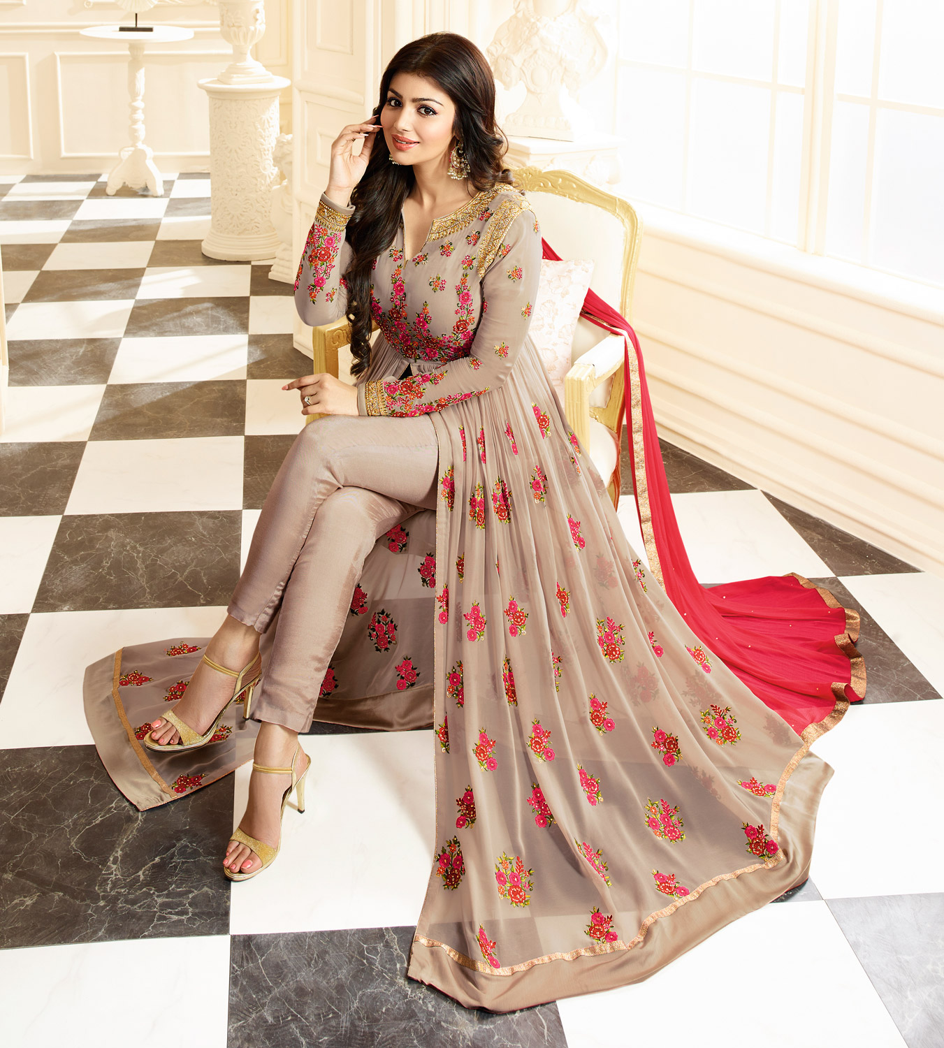 Eye-Catching Light Brown Colored Designer Partywear Embroidered Georgette Anarkali