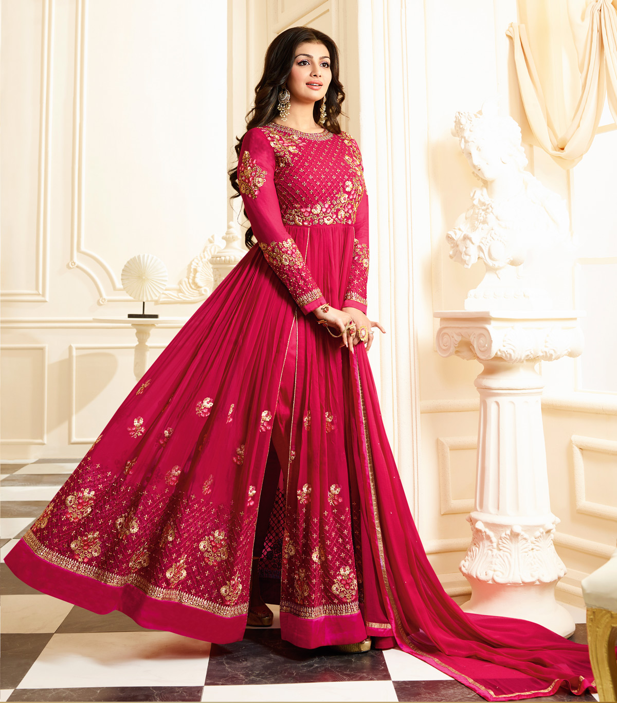 Refreshing Pink Colored Designer Partywear Embroidered Georgette Anarkali