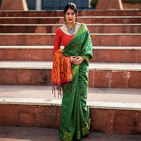 Green Colored Festive Wear Patola Silk Saree
