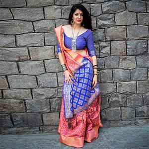 Pink - Blue Colored Festive Wear Patola Silk Saree