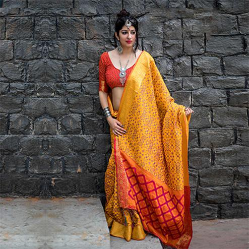 Mustard Yellow Colored Festive Wear Patola Silk Saree