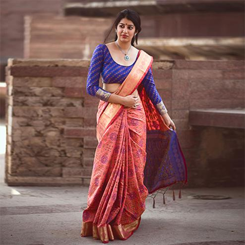 Salmon Pink Colored Festive Wear Patola Silk Saree