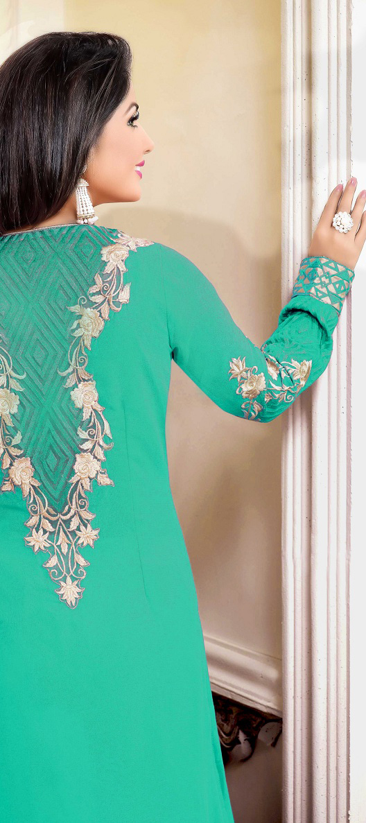 Cyan Georgette Embroidered Salwar Suit
