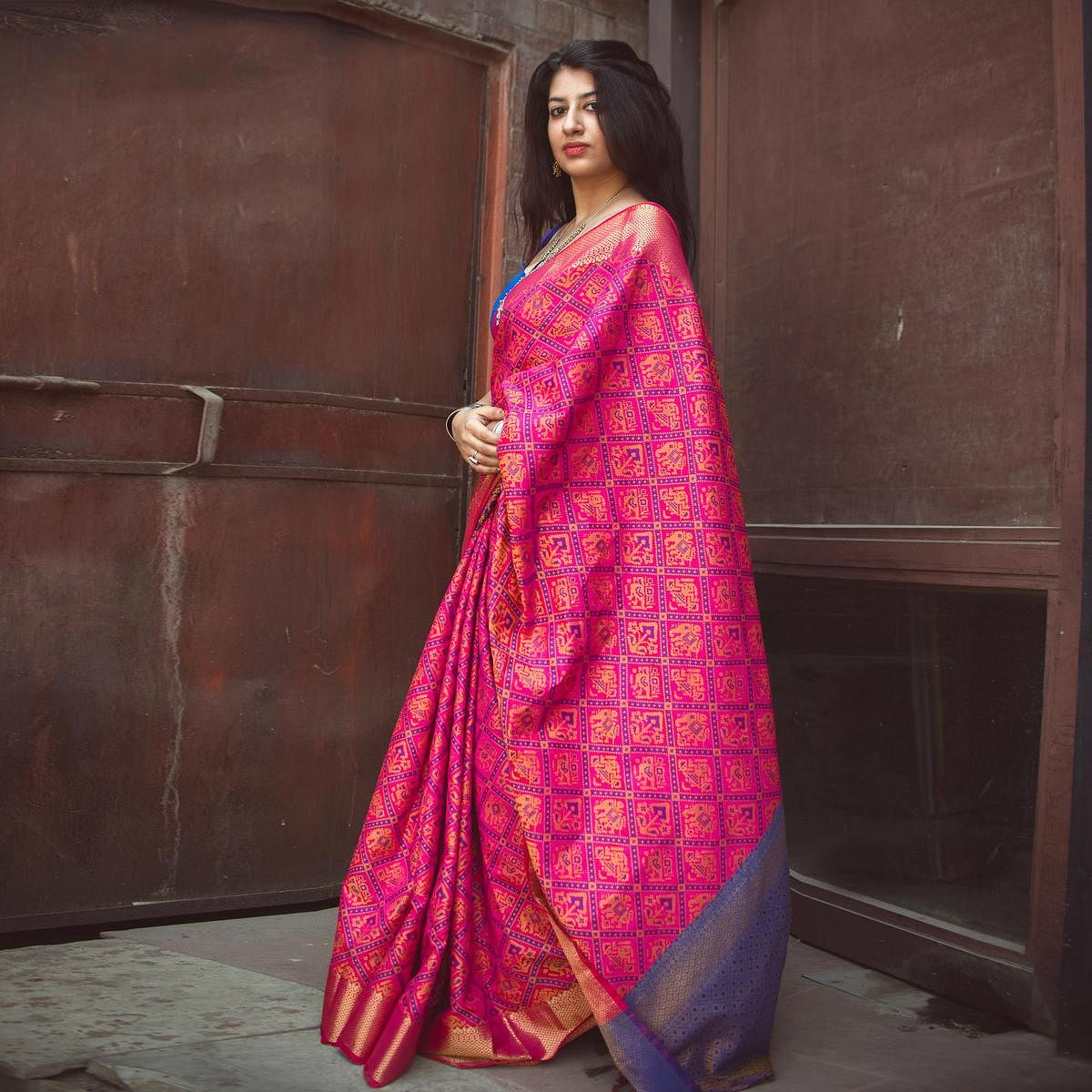 032e6412b1 Buy Rani Pink Colored Festive Wear Patola Silk Saree Online India, Best  Prices, Reviews - Peachmode