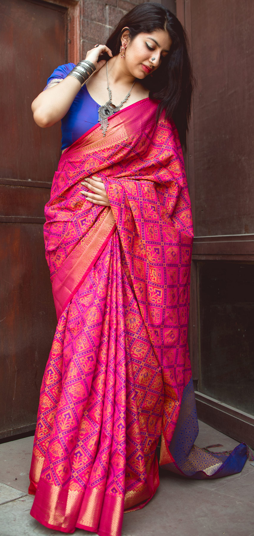 Rani Pink Colored Festive Wear Patola Silk Saree