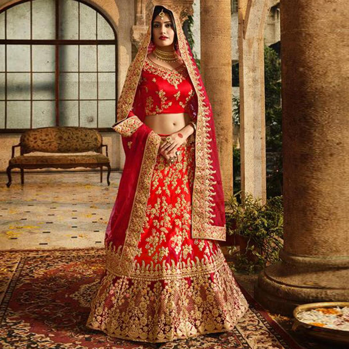 1488bcd0c8 Buy Flattering Red Colored Designer Partywear Embroidered Banglori Silk  Lehenga Choli for women's online India, Best Prices, Reviews - Peachmode