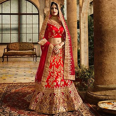 Flattering Red Colored Designer Partywear Embroidered Banglori Silk Lehenga Choli