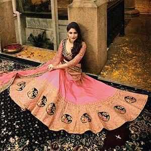 Sophisticated Pink Colored Designer Partywear Embroidered Paper Silk Lehenga Choli