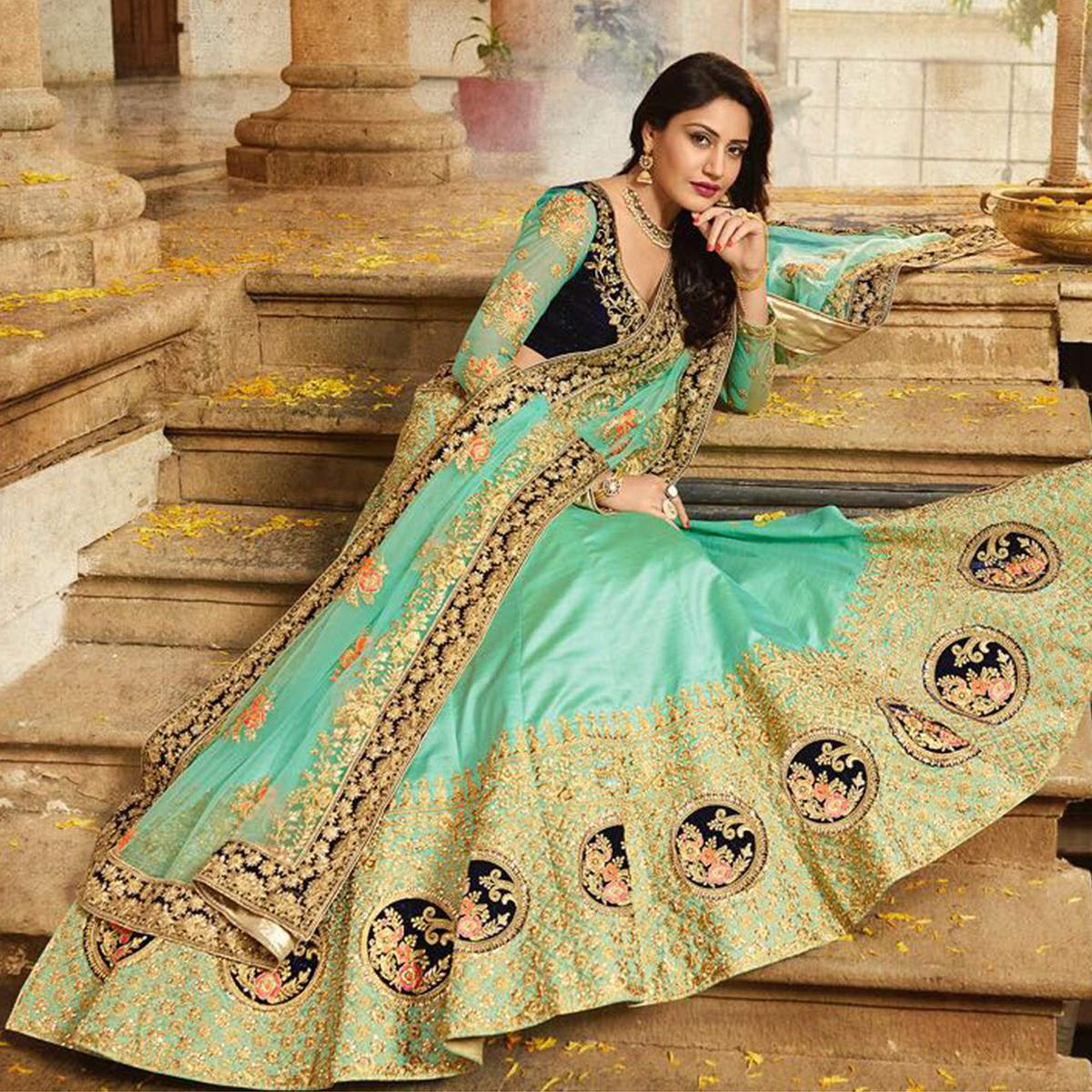 c2d1182d81 Buy Arresting Turquoise Green Colored Designer Partywear Embroidered Paper  Silk Lehenga Choli for women's online India, Best Prices, Reviews -  Peachmode