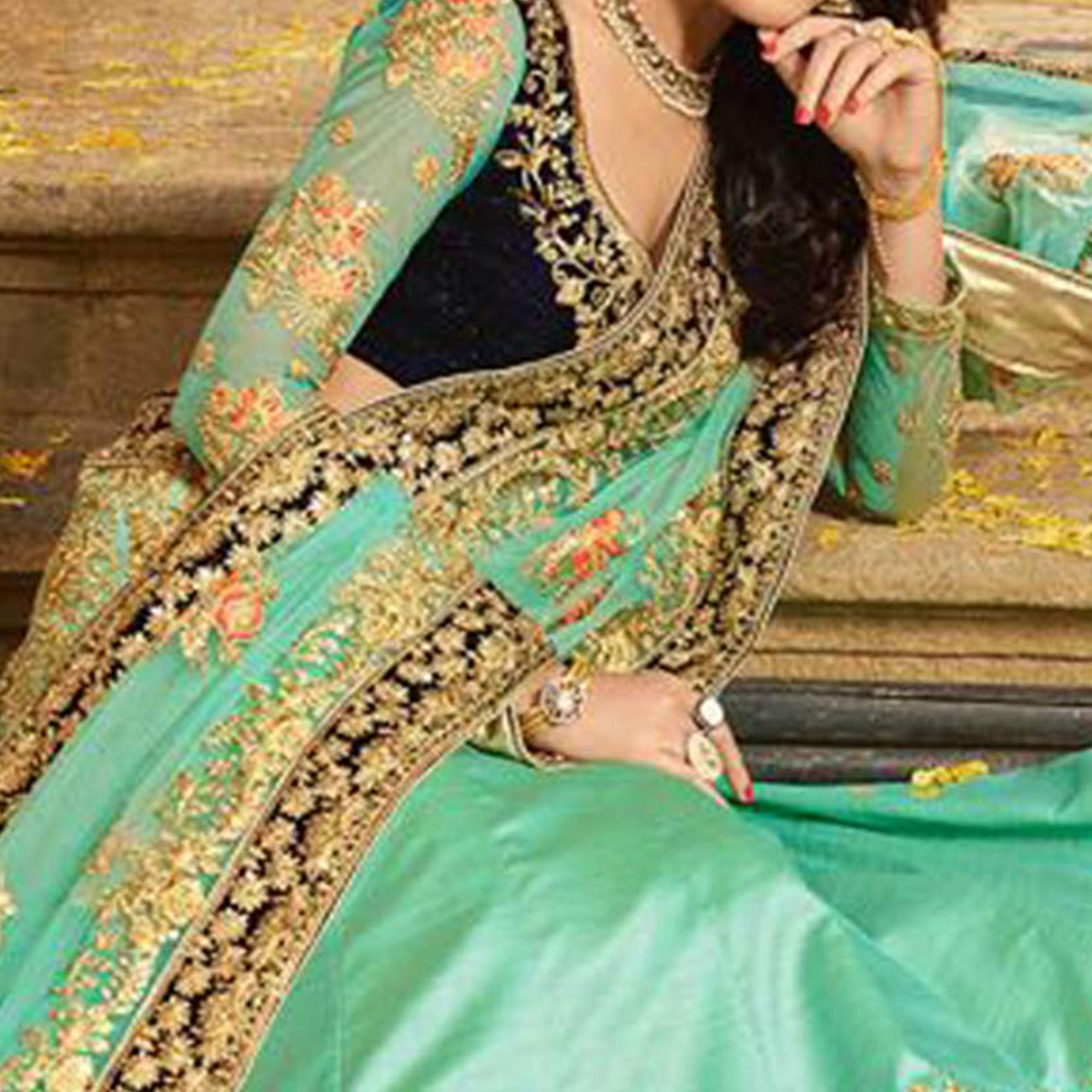 Arresting Turquoise Green Colored Designer Partywear Embroidered Paper Silk Lehenga Choli