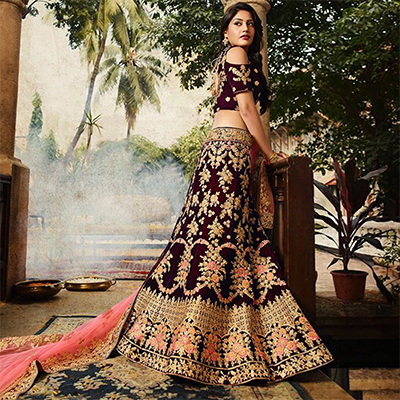 Breathtaking Purple Colored Designer Partywear Embroidered Banglori Silk Lehenga Choli