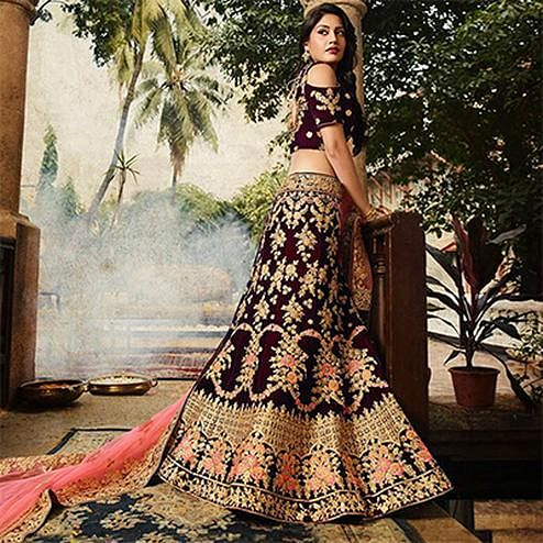 Breathtaking Maroon Colored Designer Partywear Embroidered Banglori Silk Lehenga Choli