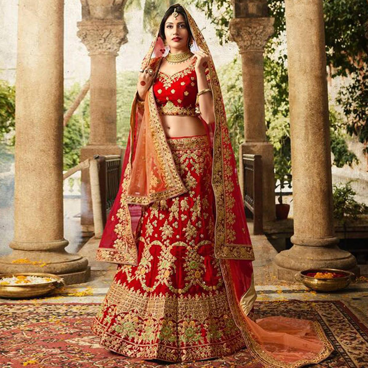 92e46957ba Buy Impressive Red Colored Designer Partywear Embroidered Banglori Silk  Lehenga Choli for women's online India, Best Prices, Reviews - Peachmode