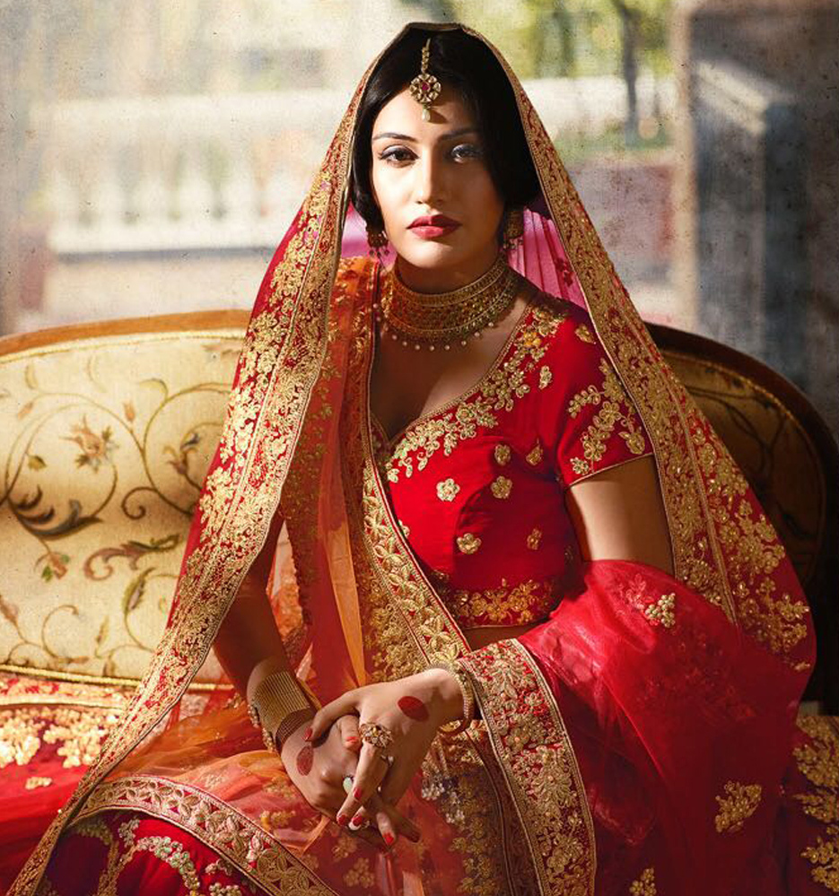 Impressive Red Colored Designer Partywear Embroidered Banglori Silk Lehenga Choli