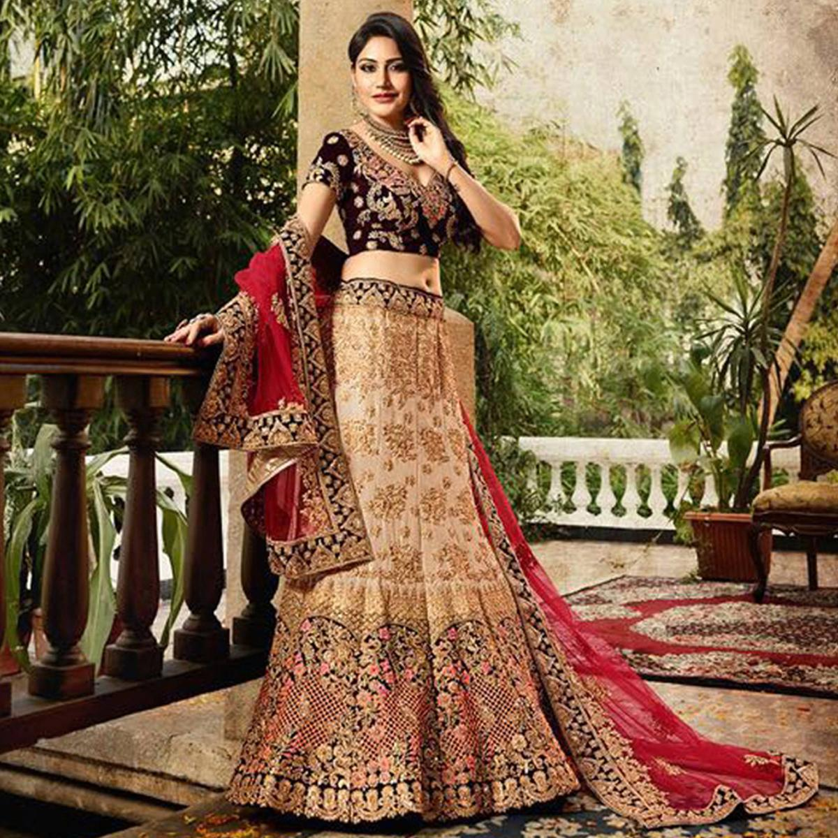 a49530ac69 Buy Innovative Beige-Maroon Colored Designer Partywear Embroidered Banglori  Silk Lehenga Choli for women's online India, Best Prices, Reviews -  Peachmode
