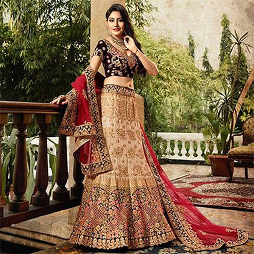 Innovative Beige-Maroon Colored Designer Partywear Embroidered Banglori Silk Lehenga Choli