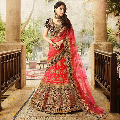 24dc401888 Gleaming Red Colored Designer Partywear Embroidered Banglori Silk Lehenga  Choli