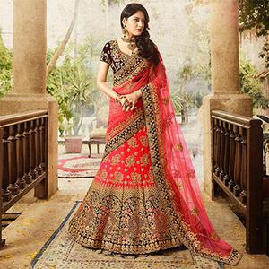 Gleaming Red Colored Designer Partywear Embroidered Banglori Silk Lehenga Choli