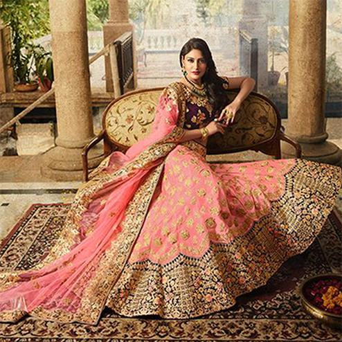 Staring Pink Colored Designer Partywear Embroidered Paper Silk Lehenga Choli