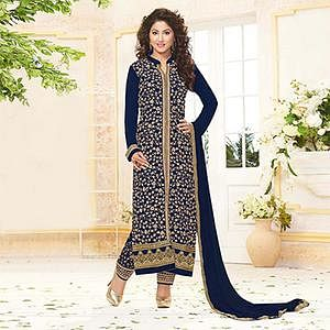 Blue Georgette Embroidered Salwar Suit