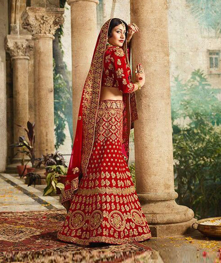 Demanding Red Colored Designer Partywear Embroidered Banglori Silk Lehenga Choli