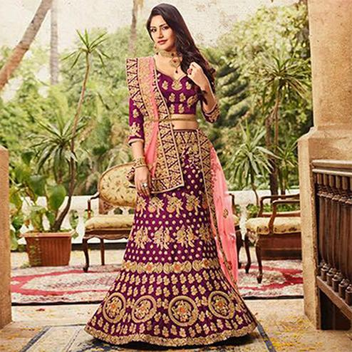 Buy energetic purple colored designer partywear embroidered banglori silk lehenga choli along with u