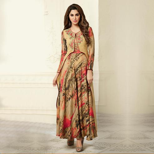 Impressive Beige-Multi Colored Partywear Embroidered Rayon-Georgette Long Kurti