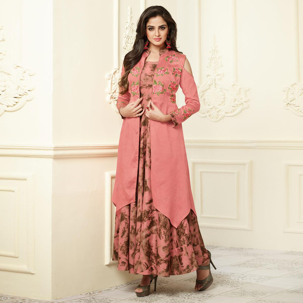 Girlish Peach Colored Partywear Embroidered Rayon-Raw Silk Long Kurti
