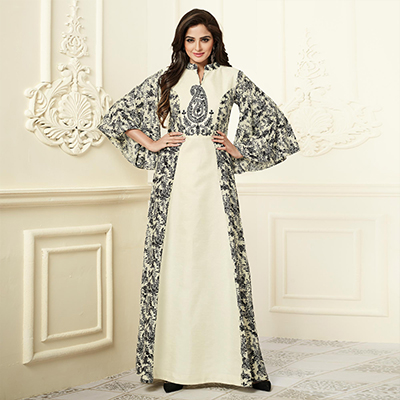 Eye-Catching Off-White Colored Partywear Embroidered Rayon-Georgette Long Kurti